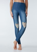 W0104 New Fashion Fancy Girl Denim Leggings Heart Ripped Jeans
