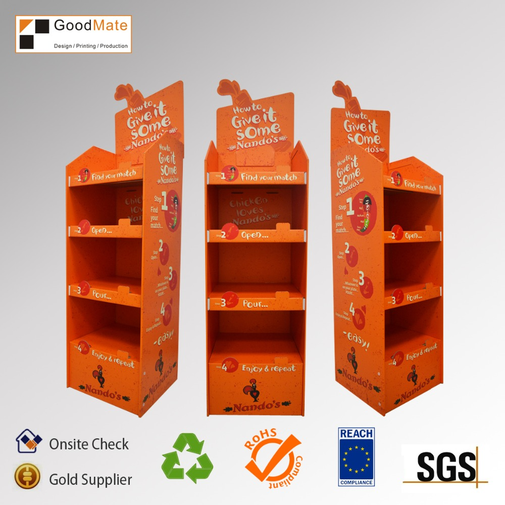Custom Cardboard Paper Printed Corrugated Retail Counter Display Box with 3 shelves
