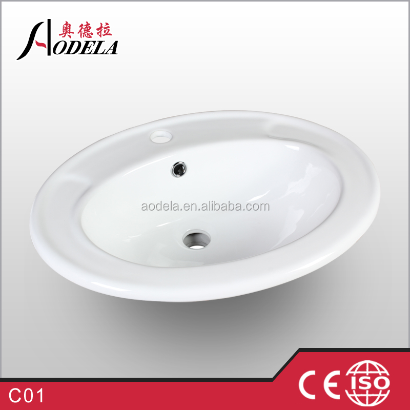 Ceramic Wash Basin Oval Shape With White Color C01