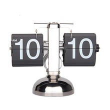 Retro Modern Metal Scale Digital Auto Flip Single Stand Desk Table Clock