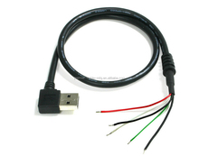 19in USB 2.0 A Angle R-4 to Bare-wires Cable, Color: Black