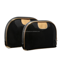 Factory directly waterproof shiny shell shape make your own brand makeup PU cosmetic bag