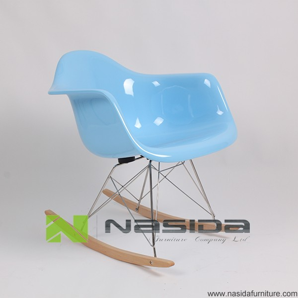 CH105 Blue RAR Rocking Fiberglass lounge Chair in study room
