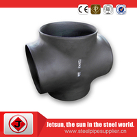 female equal Carbon Steel sch 40 astm a234 wpb 4 way pipe fitting universal cross joint