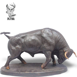 Outdoor decoration life size antique bronze bull statue