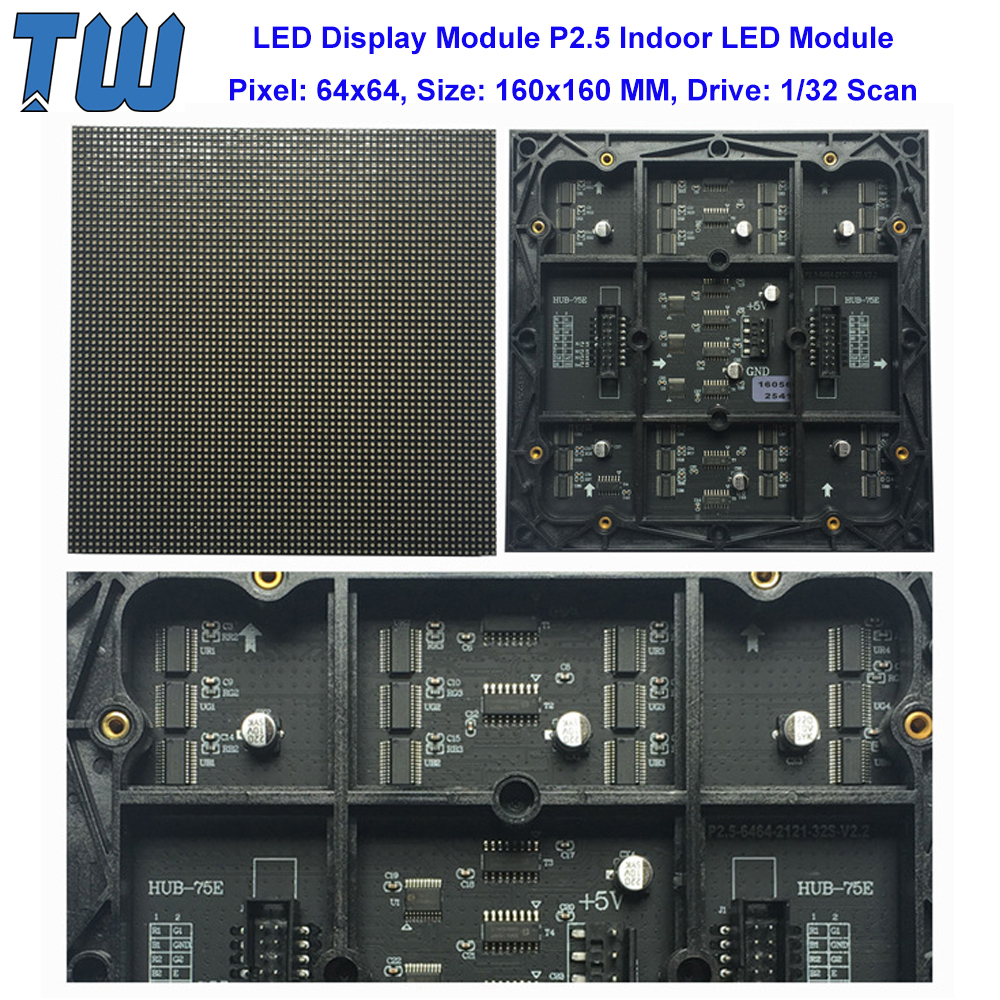 Small Pixel Pitch P2.5 LED Display Module 64x64 Dots High Resolution LED Video Wall 1980Hz Refresh Rate