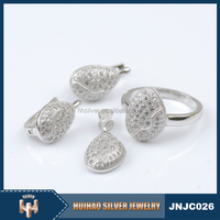 Huihao Brand factory direct sale fashion women artificial kundan bridal 925 silver jewellery sets