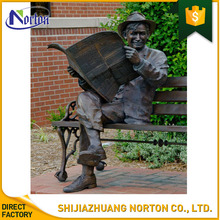 Square decoration reading bronze man sculpture NT--BCA029