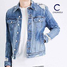 Fashion custom men casual wholesale ripped mens distressed denim jean jacket