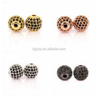 Inspire jewelry wholesale Black Cubic Zirconia CZ beads,Women Bracelet Charms Spacers Stone Beads for jewelry making