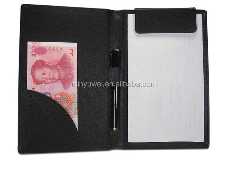 Mini Leather Clipboard Folder Notepad for restaurant hotel Menu Folder Note with pen holder