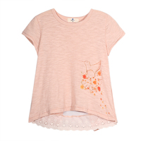 Haoduoyi Girls New Brief Casual Children T-shirt Mesh Birds Printed O-neck T-shirts for Wholesale