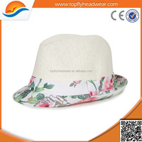Ladies New Design Flower Print Straw Hat, Wholesale Beach Hat Straw