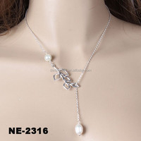 Long Chian Necklace Leaf Pendant Silver Chains For Women