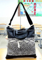 Popular Korean Stylish Snakeskin Leather Brand New Unisex Briefcase Tote Hand Bag