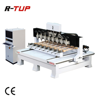RD2512-8 Automatical 3D multi head spindles 4th axis CNC wood router rotary engraver woodworking engraving machine