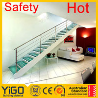 double stringer mild steel glass railing stair&indoor iron staircase