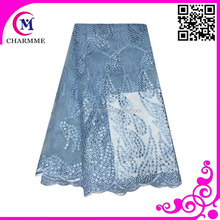 Sky blue color CCL-9N052 latest tulle lace fabric for big wedding
