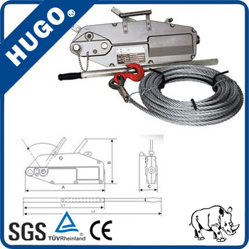CE Approved Wire Rope Grip Pulley Lever Hoist with Cable