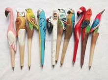 Eco friendly animal shape wood engraved ballpoint pen bird pen