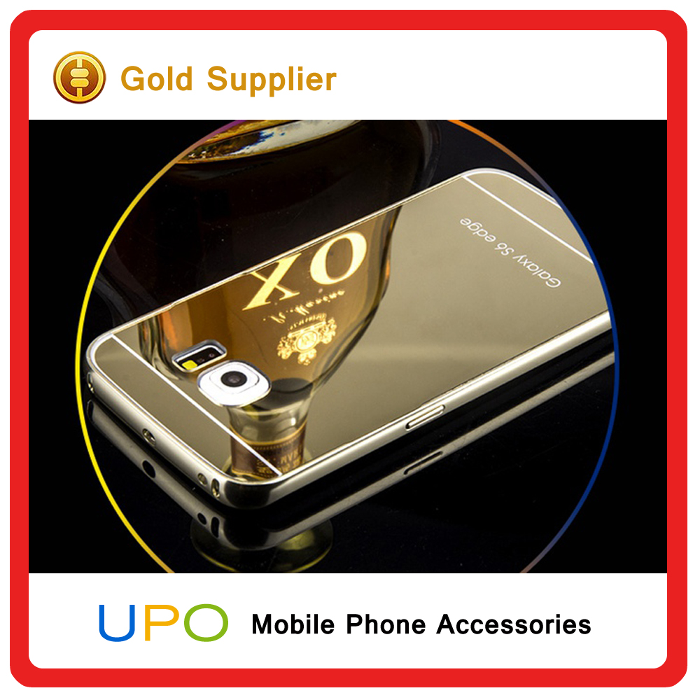 Upo luxury aluminum metal mirror phone case cover for for Mirror your phone