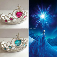 Heart stone plastic Wholesale fancy princess crown for girls