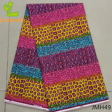 wholesale! Hot sale 2017 african fabric real wax print fabric, wax material 100%cotton real wax for lady dress JMH46-52