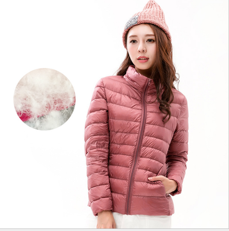 2017 Fashion Light Weight Down Jacket women's olid Stand Collar Packable Ultralight Down Winter Down Jacket for woman