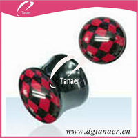 fashion acrylic expander piercing plug with red triangle