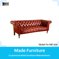 Retro leather sofa living room sofa furniture with wheels