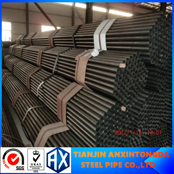 high carbon cold rolled iron round welded black steel pipe round erw welded hollow section steel tube / pipe in Tianjin factory