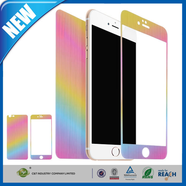 C&T Front+Back Gradient Rainbow Colored Tempered Glass Film For iPhone 6 4.7 Inch