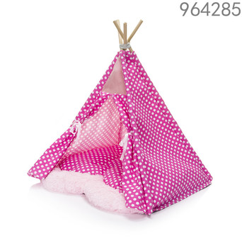 canvas material rose red color outdoor wodden pet tents with removable cushion