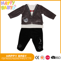 Two Pcs Velvet Baby Clothing Set Infant Toddler Baby Boy Long Sleeve fake two pcs pull over Sweatshirt and pant with foot cover