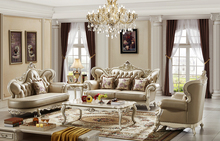 white luxurious european classical style solid wood living room furniture sets sofa sets and coffee table