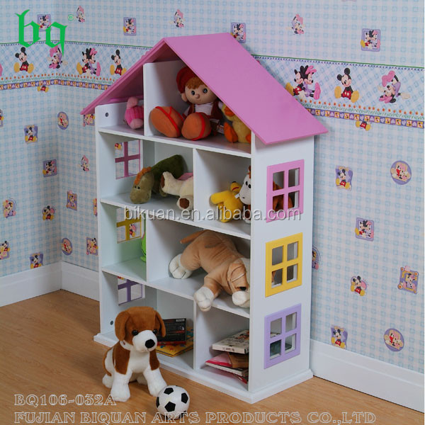 Wooden kids house shape bookcase with storage function