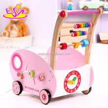 New Baby Christmas gift Push Along Toy,Push wooden baby walker,Hot Selling wooden push toy with string beads toy W16E038