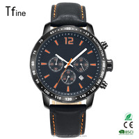 trendy brand stainless steel multifunction watches with genuine leather band and miyota OS20 movment for men