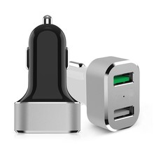 Portable USB Charger,30W quick charge 3.0 dual USB car charger, car charger qc 3.0