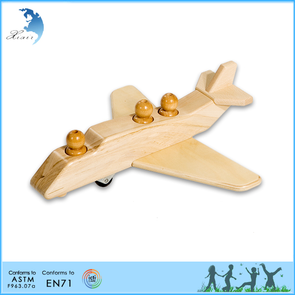 EN71 Educational kids toys funny wooden montessori airplane toy
