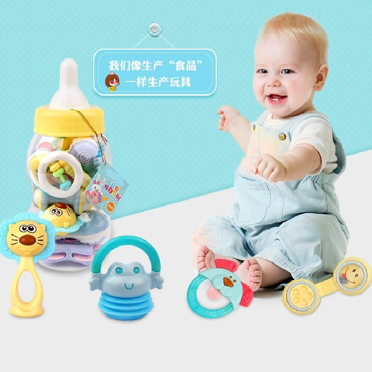 Wholesale eco friendly colorful baby bottle lovely toy soft baby rattle