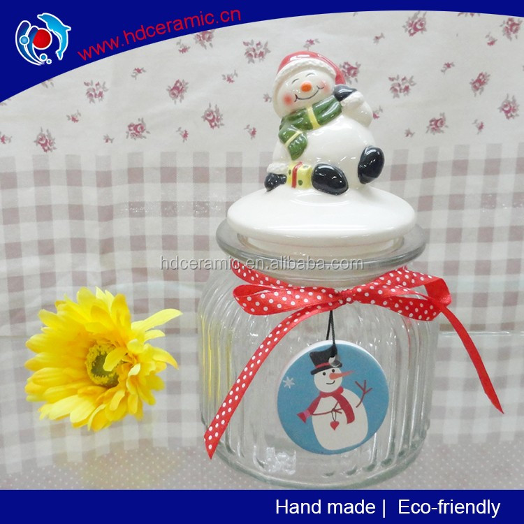 Ceramic smile snowman lid with glass jar ,christmas gift jar whole sale