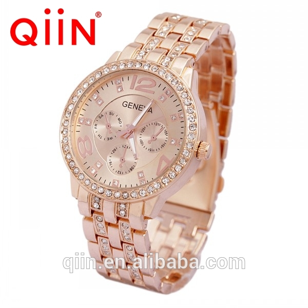 QE0101 Brand new stainless steel back geneva quartz watches Made in China