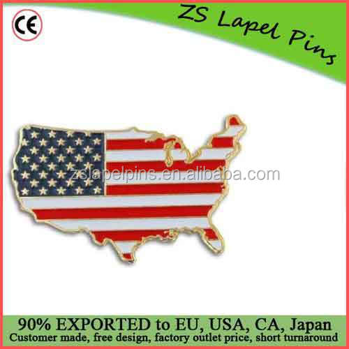 Free digital proof design personalized USA Shape Flag Map Lapel Pin