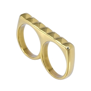 two finger ring stainless steel rings wholesale men women gold plated fashion beautiful pattern rings