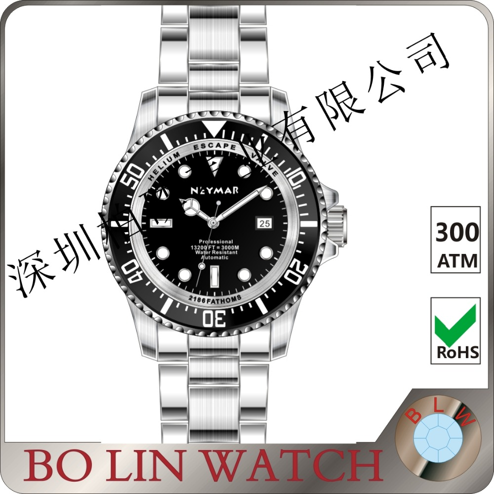 latest design 3000meter water resistant watch,316L stainless steel case with sapphire glss, metal bands automatic watch