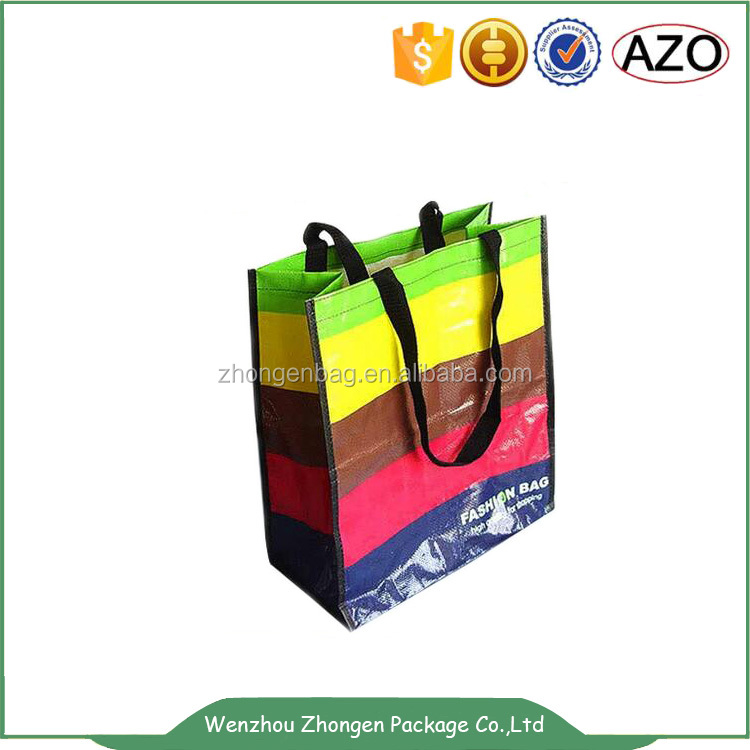 Rainbow colors printed gloss lamination pp non woven hand packing bag