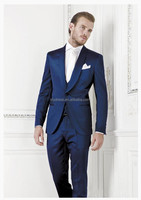 One Button Double Vents Royal Blue Round Collar Slim Fit Customized Made Men's Wedding Suits(Jacket+Pants+Tie)BS126 Jacket Pants