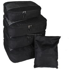 5pc Packing Cubes Set Large Travel Luggage Organizer 4 Cubes 1 Laundry Pouch Bag(black)