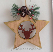 new products Christmas tree decoration laser cut wooden craft reindeer snowflake wooden hanging ornament promotion gift